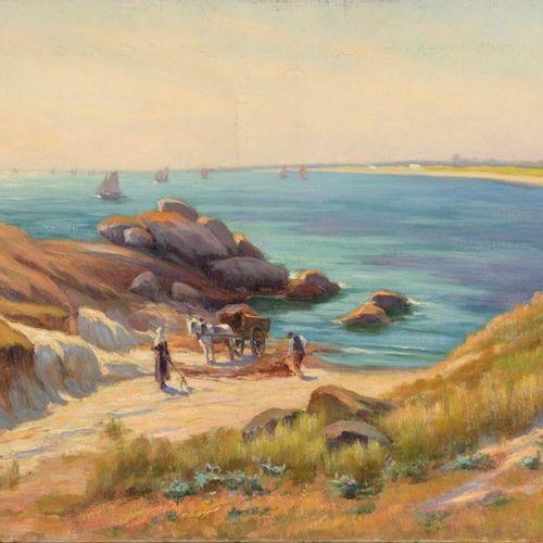 Charles WISLIN (1852 1932)  Les ramasseurs de varech à Trévignon  Huile sur toil…