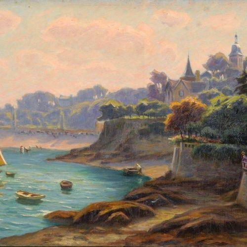 Charles WISLIN (1852 1932)  Voiliers à Dinard  Huile sur toile.  Signée et situé…