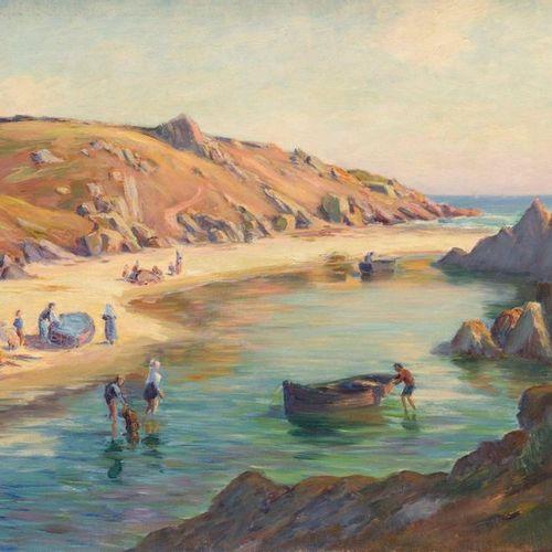 Charles WISLIN (1852 1932)  Baignade par beau temps dans le Finistère  Huile sur…
