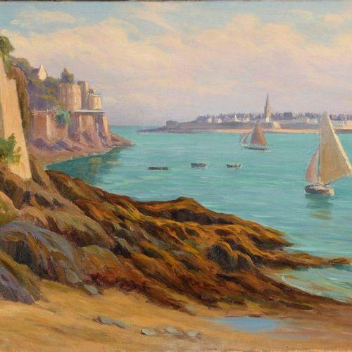 Charles WISLIN (1852 1932)  Voiliers dans la rade de Saint Malo  Huile sur toile…