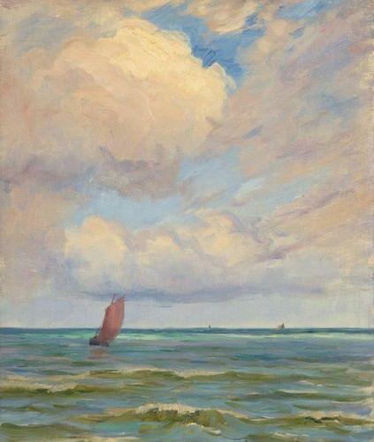 Charles WISLIN (1852 1932)  La voile rouge  Huile sur toile.  Signée en bas à dr…