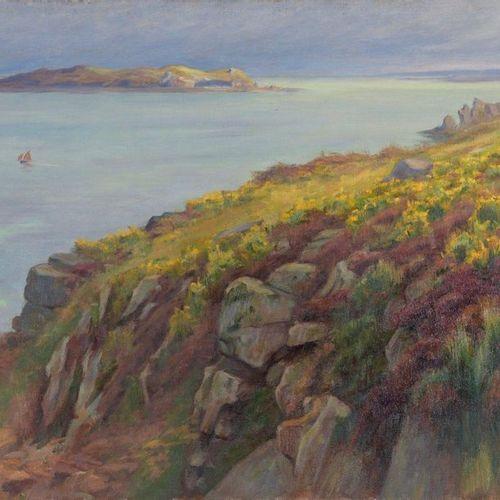 Charles WISLIN (1852 1932)  Les bruyères à Trestrignel  Huile sur toile.  Signée…