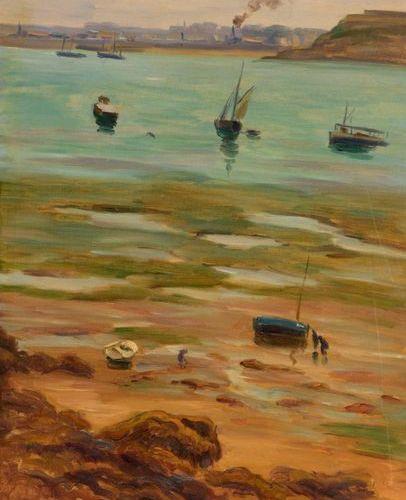 Charles WISLIN (1852 1932)  Dinard à marée basse  Huile sur toile.  Signée, situ…