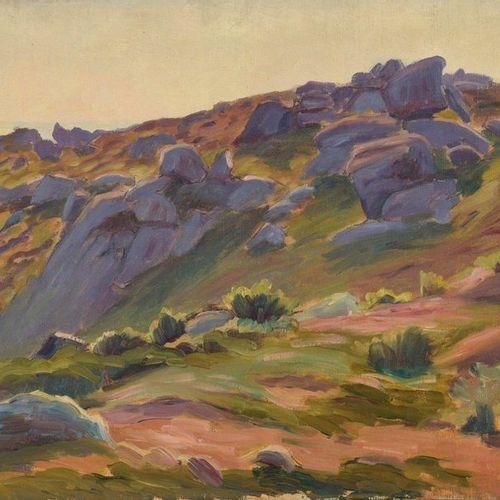 Charles WISLIN (1852 1932)  Rochers à Port Manec'h  Huile sur toile.  Signée en …