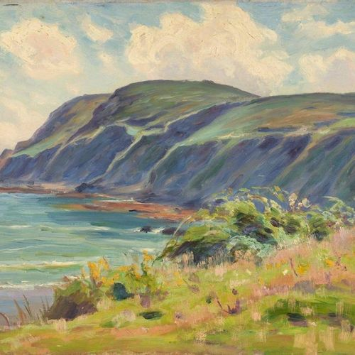 Charles WISLIN (1852 1932)  Cliffs at Binic, Côtes d'Armor  Oil on canvas.  Mono…