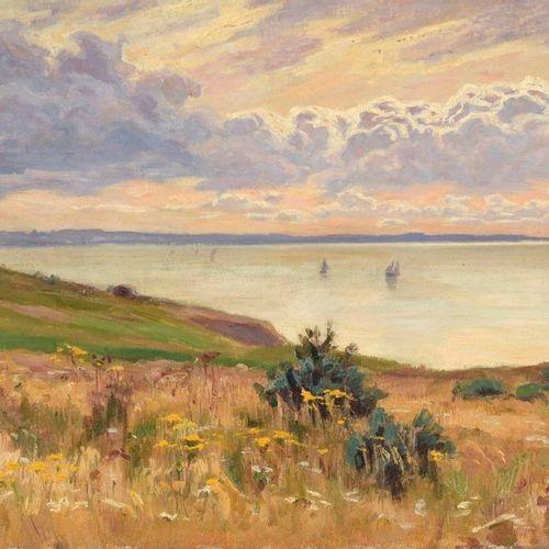 Charles WISLIN (1852 1932)  Voiliers au soleil couchant  Huile sur toile.  Signé…