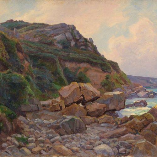 Charles WISLIN (1852 1932)  Falaise à Perros Guirec  Huile sur toile.  Signée et…
