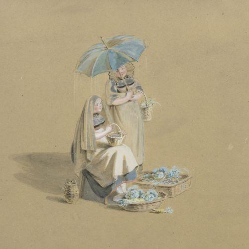 Franz Niklaus KÖNIG (1765 1832)  Flower merchants in Bernese costume, 1825  Ink …