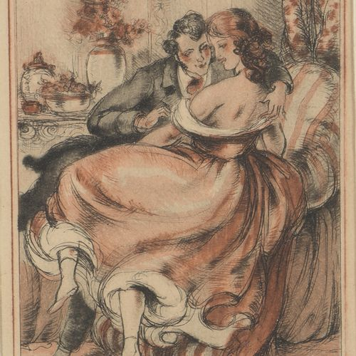 Luc LAFNET (1899 1939)  The Dandy, two erotic scenes  Two sanguine and pencil on…