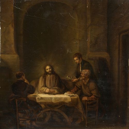19th century school, after REMBRANDT  Emmaus Pilgrims  Oil on panel.  31 x 30 cm