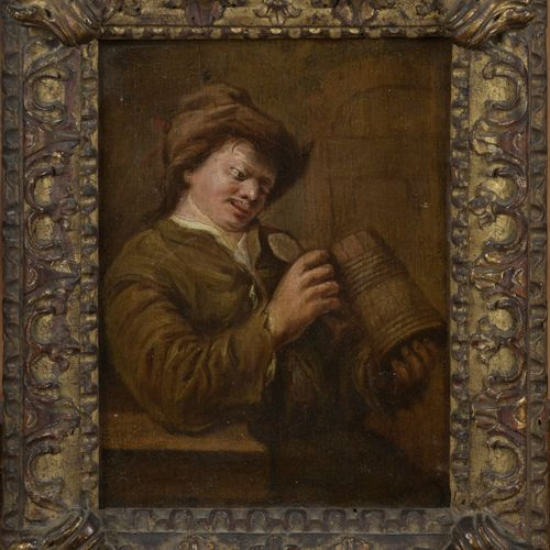 In the taste of the TENIERS  Drinker and his mug  Oil on panel.  17 x 13 cm