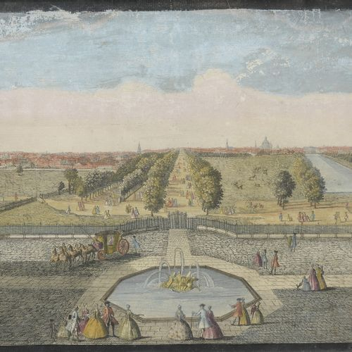 """Late 18th century school  Rare English optical view of """"The Mall"""", London  Color…"""