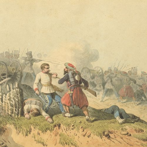 Theodore FORT (1810 1896)  Foot combat at the Battle of Alma, 1854  Watercolour …
