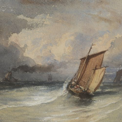 Eugene ISABEY's entourage  Fishing boats, in bad weather  Watercolour on paper. …
