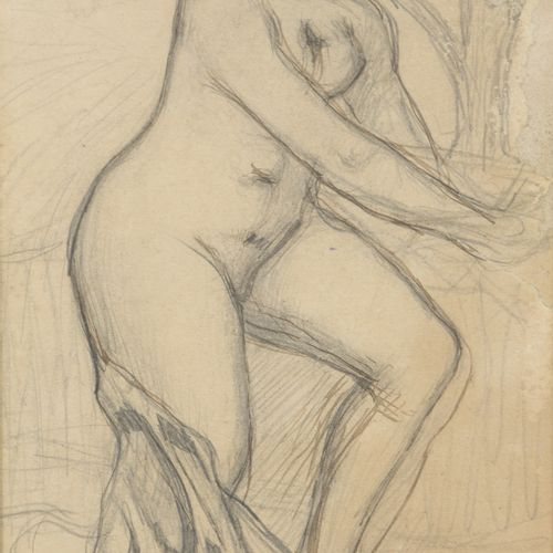 In the taste of Aristide MAILLOL (1861 1944)  Nude to the drapery  Pencil, India…