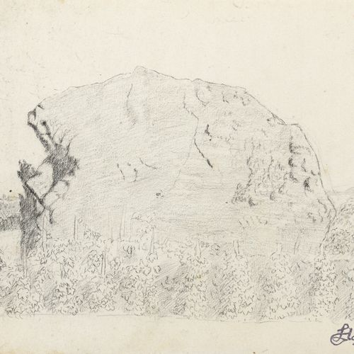 Louis HAYET (1864 1940)  Vineyards and rocks  Pencil on paper.  Signature stamp …