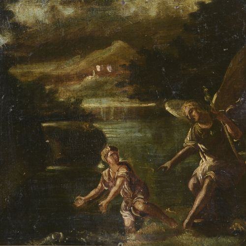 ITALIAN School from the 17th century  Tobie and the angel  Oil on cardboard.  28…