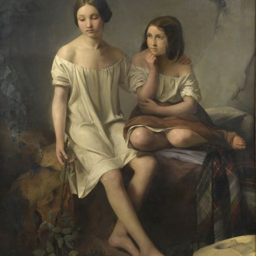 STEVENS (19th century)  The two young girls  Oil on canvas.   Signed and dated …