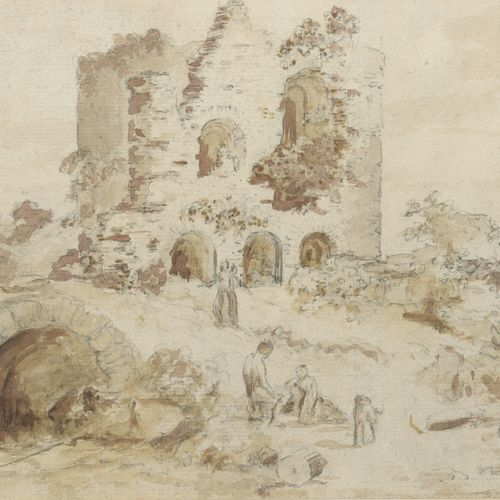 Jean Baptiste HILAIRE (1753 1812/32)  Roman ruins in Italy,1779  Brown paper on …