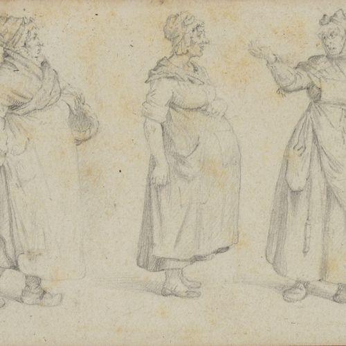 19th century FRENCH school  Five women farmers' studies  Pencil on paper.  Monog…