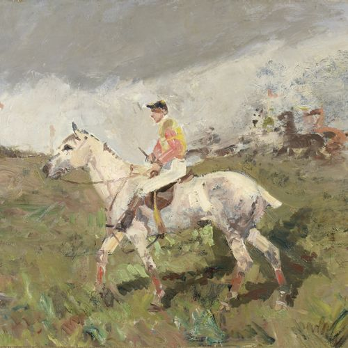 Attributed to René Pierre PRINCETEAU (1844 1914)  Rider and jockey  Oil on canva…