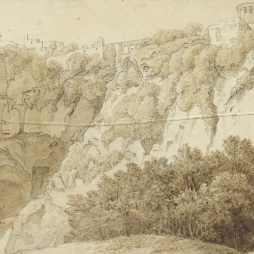 NECLASSIC School  View of Tivoli  Pen, wash and brown ink on paper.  Unsigned. …