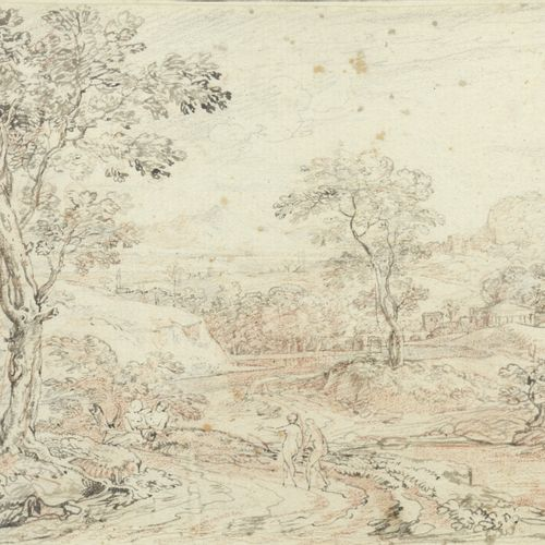 FRENCH school, in the taste of Claude LORRAIN  Couple in a classic landscape  Pe…