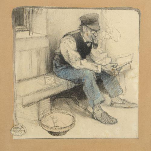 Géo DUPUIS (1875 1932)  The letter  Black and blue pencil on paper.  Monogrammed…