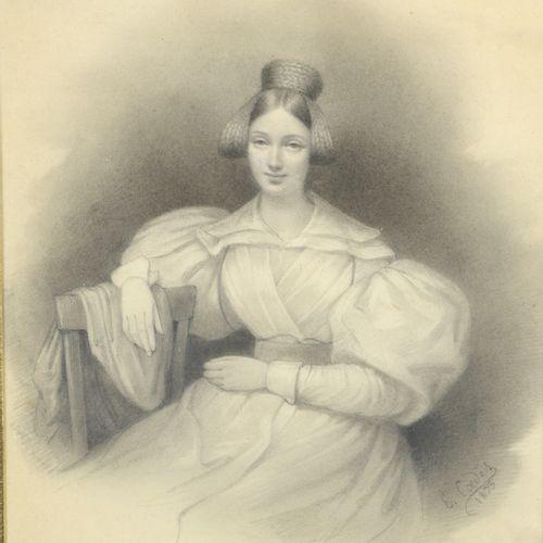 Louis Eugène COEDES (1810 1906)  Portrait of a young girl, 1833  Pencil.  Signed…