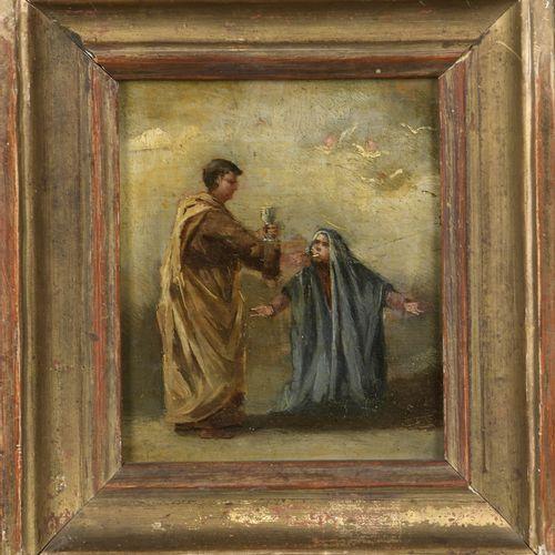 Attributed to Eugenio LUCAS VELASQUEZ (1817 1870)  The Eucharist  Oil on panel u…