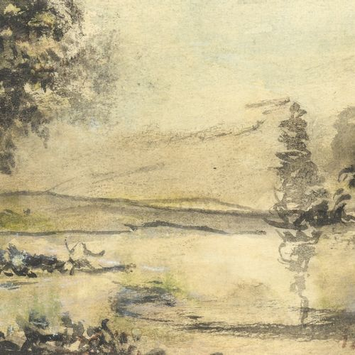 19th century FRENCH school  Landscape  Watercolour on paper.   Bears an apocryp…