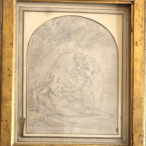 School of the late 17th and 18th century  Two pencils on paper   Holy discussion…