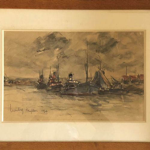 Fernand HERBO (1905 1995)  Boats in Honfleur, 1936  Watercolor and pastel on pap…