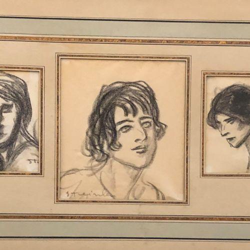 Théophile Alexandre STEINLEN (1859 1923)  Seven Studies of Heads in Three Settin…