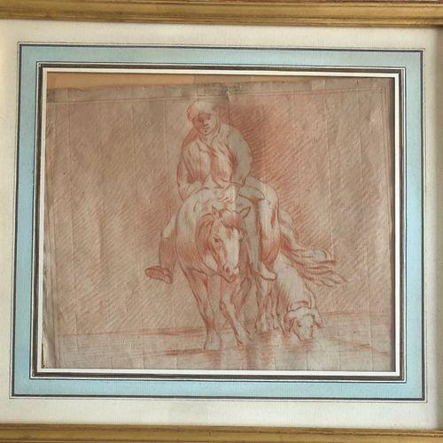 School of the XVIIIth century  Farmer on horseback with his pig on the river  Sa…