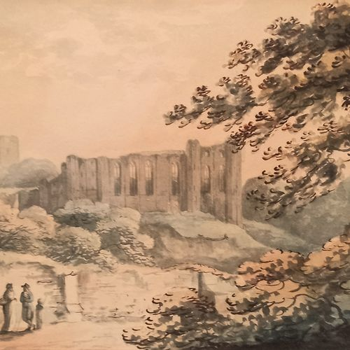 French school of the end of the 18th century  Walkers near ruins  Two inks and w…