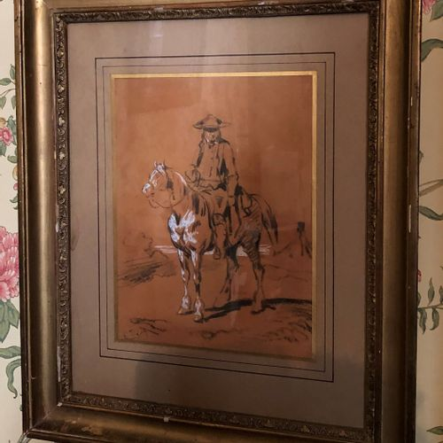 French school of the 19th century  Rider  Pastel and white gouache highlights  S…
