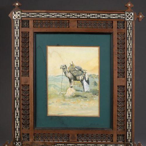 De LUCA (20th century)  Dromedary and his guards  Watercolour and gouache highli…
