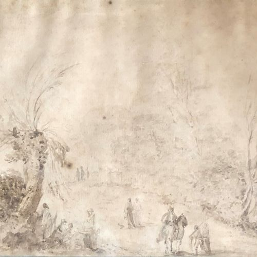 French school of the 18th century  Walkers in a wood  Pen and brown ink, brown a…