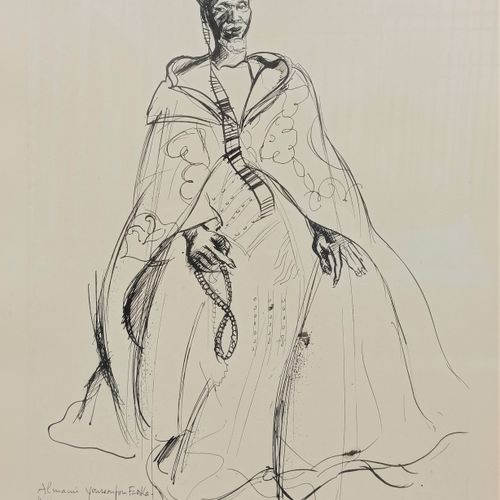Renée BERNARD (1906 2004)  Portrait of an African Chief  Ink on paper  Signed lo…
