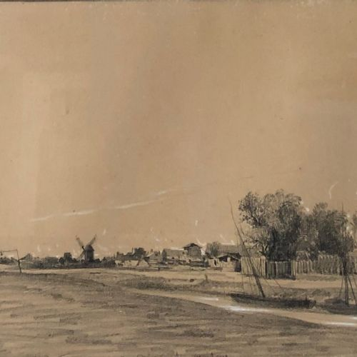 Attributed to Camille FLERS (1802 1866)  River landscape  Black pencil and white…
