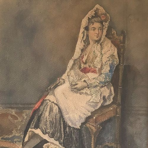 French school of the 19th century  Young Sevillian Woman  Watercolor on paper, l…
