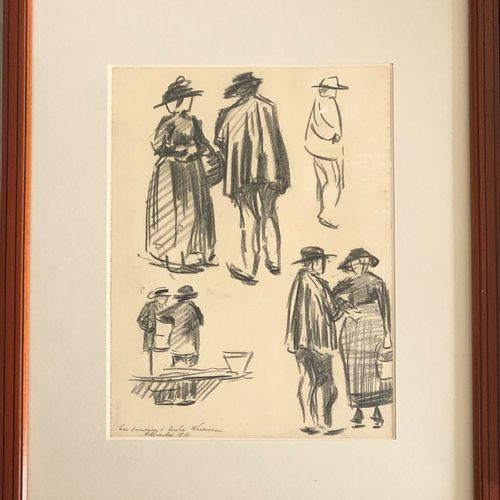 School of the 20th century   Study of figures  Charcoal on paper, 1913  Signed a…