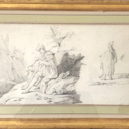 French school of the early 19th century  Study of two Italian bandits  Black pen…