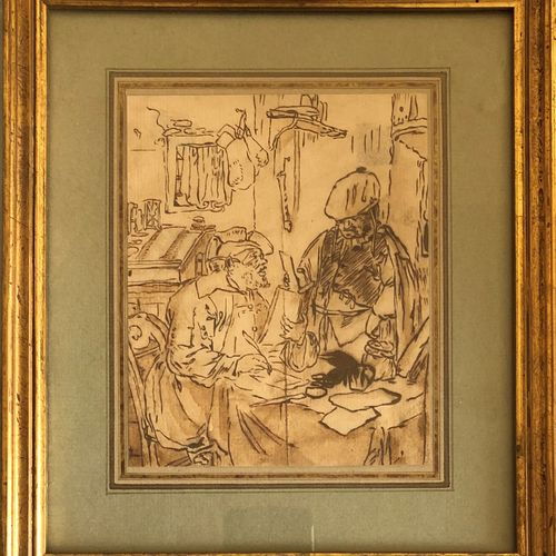 School of the 19th century  Two men in an interior, one writing  Ink on paper  F…