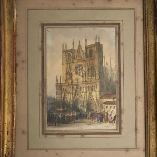 After Eugène LAMI  Animated procession in front of a church  Watercolor on paper…