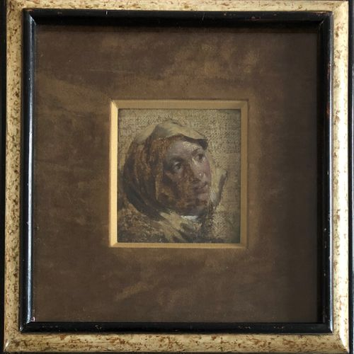 18th century school  Study of a head  Oil on canvas  Fragment  9 x 8,5 cm, at si…