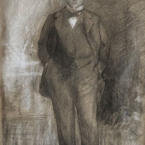 Alfred ROLL (Paris 1846 1919)  Full length portrait of a man  Charcoal and white…