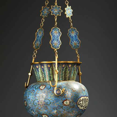A MOSQUE LAMP, BRONZE WITH CLOISONNÉ ENAMEL DECORATION, CHINA, LATE 19TH CENTURY…