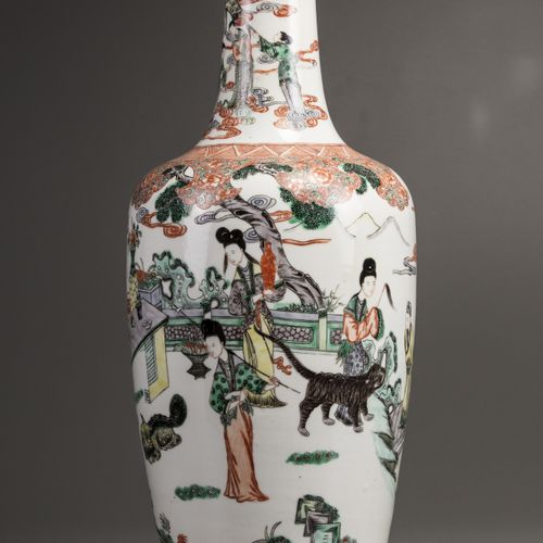 A CHINESE FAMILLE VERTE LADIES BALUSTER VASE, 19TH CENTURY The vase is decorated…